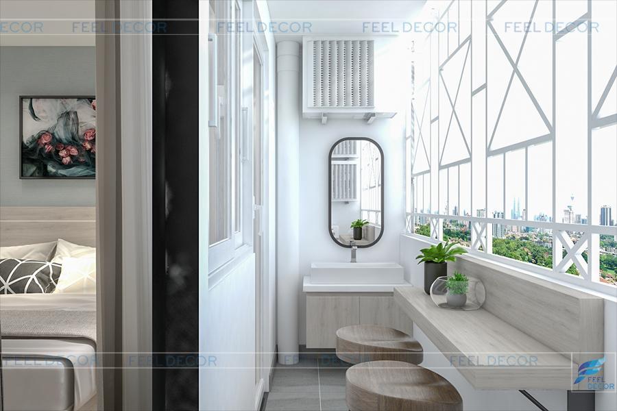 Hình ảnh 3D nội thất logia chung cư Miếu Nổi