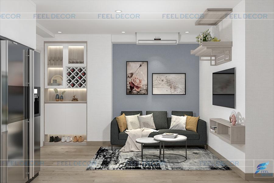 Hình ảnh 3D nội thất phòng khách chung cư Miếu Nổi