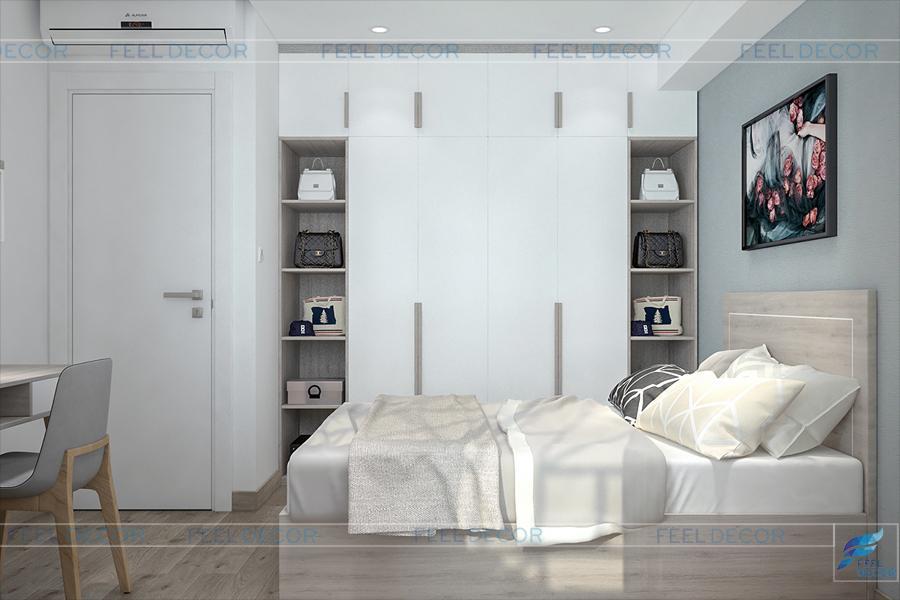 Hình ảnh 3D nội thất phòng ngủ chung cư Miếu Nổi
