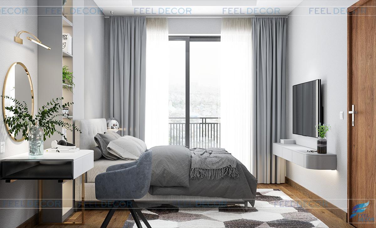 Thiết kế thi công nội thất phòng ngủ master căn hộ The Pegasuite