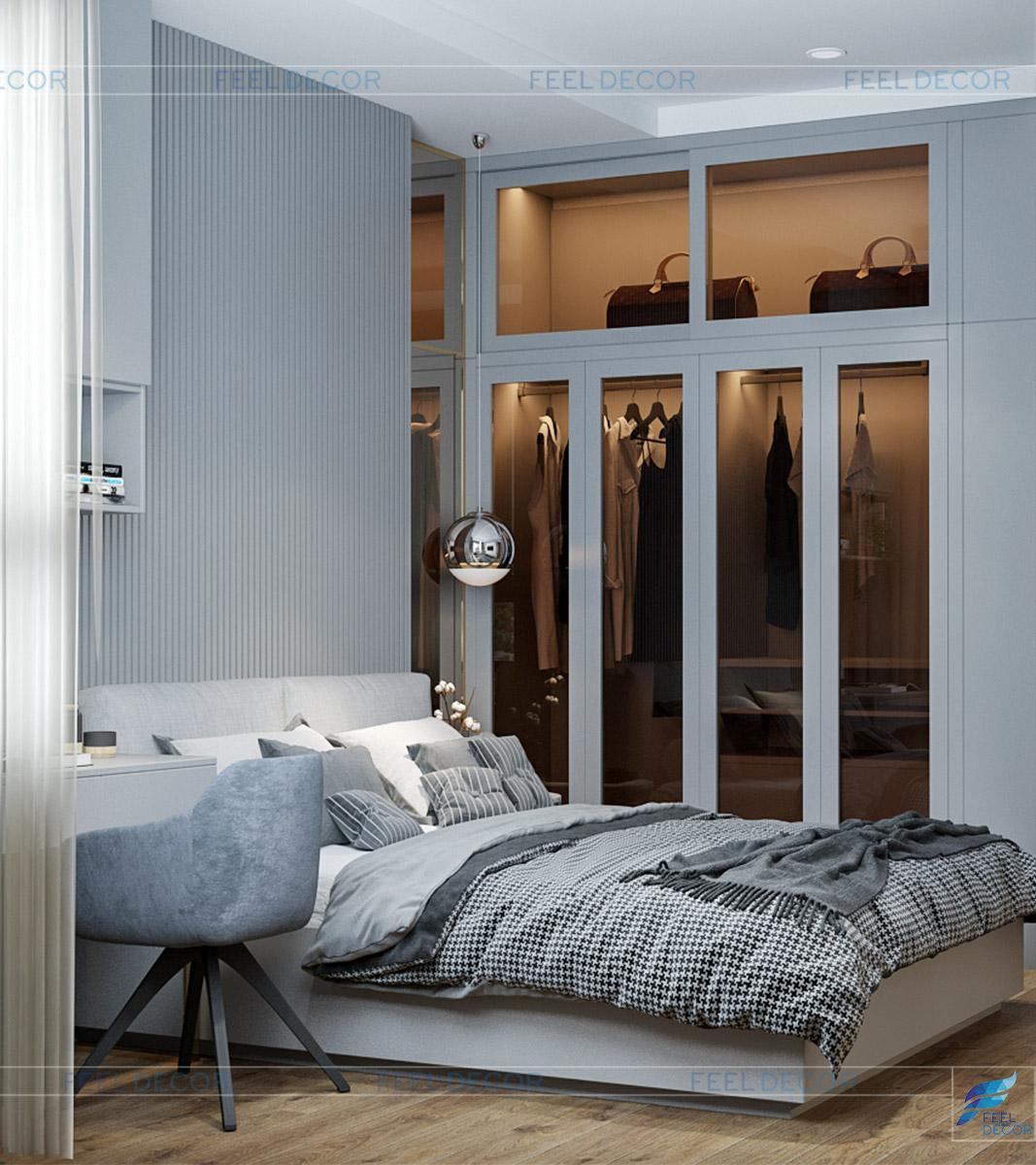 Thiết kế thi công nội thất phòng ngủ căn hộ The Pegasuite