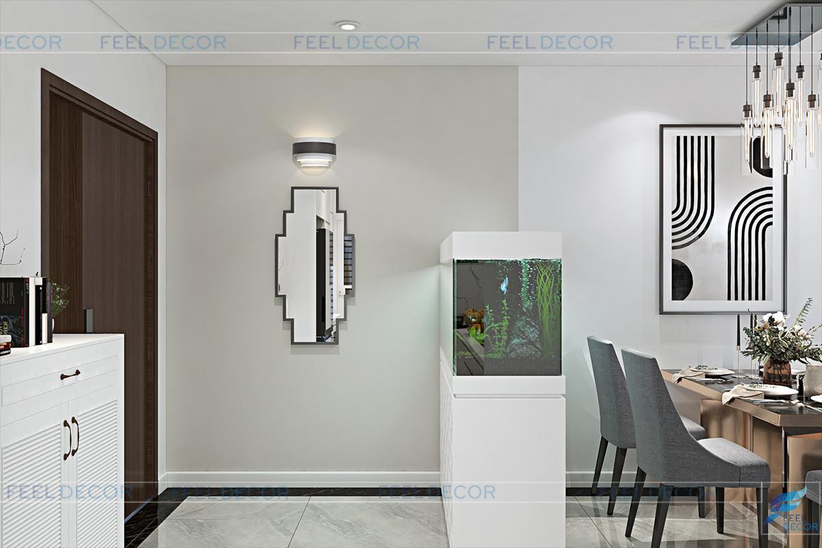 Thiết kế nội thất phòng khách - bếp chung cư The Prince Residences
