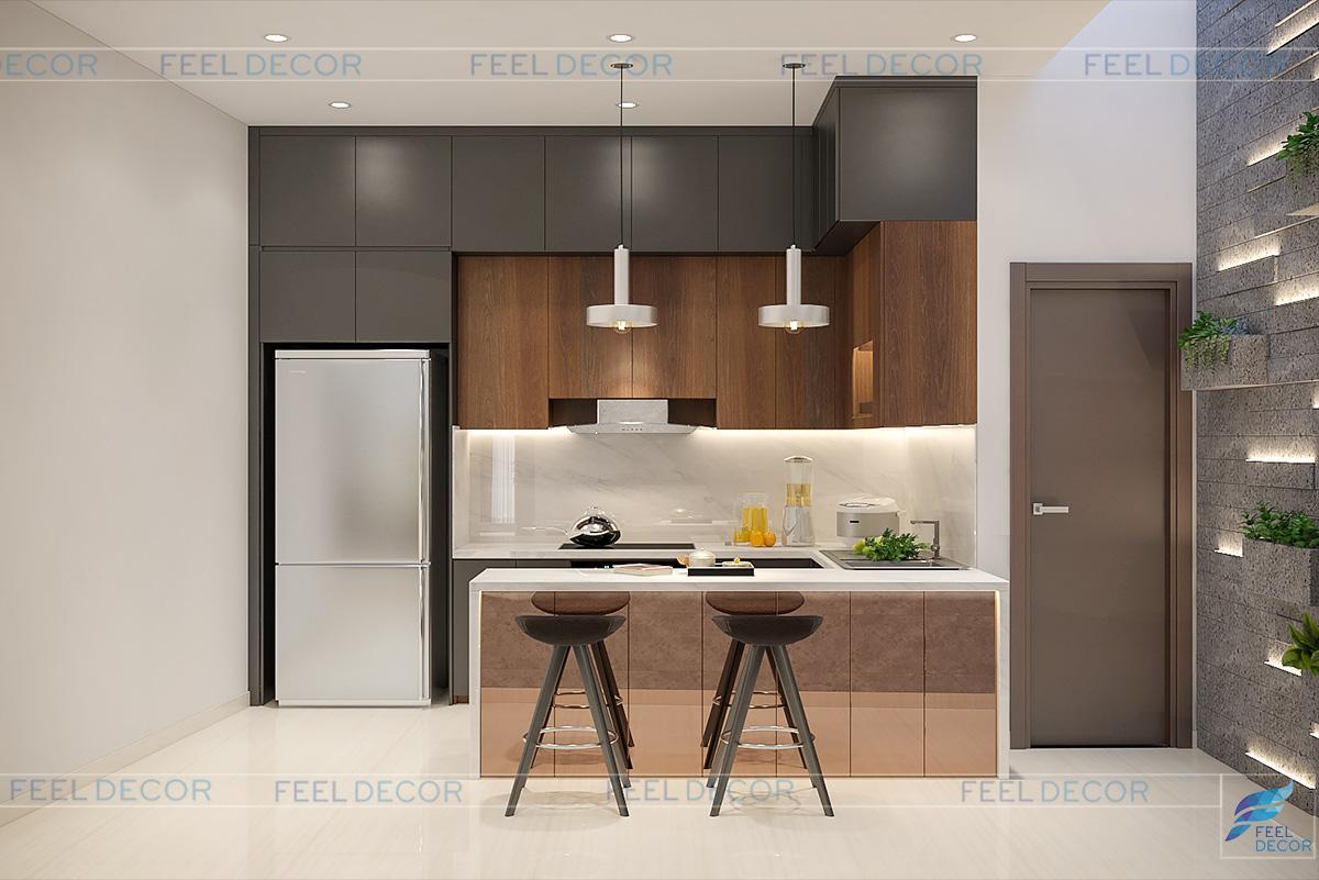 Không gian phòng bếp thoáng mát, tươi xanh và sạch sẽ