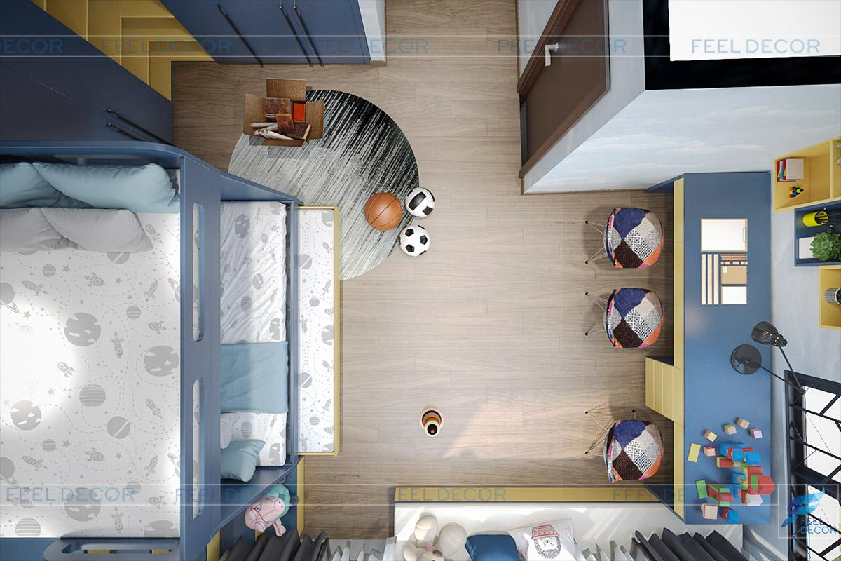 phòng ngủ trẻ em đẹp hiện đại và cá tính phù hợp với độ tuổi các bé.