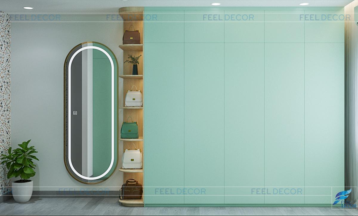 Phòng thay với tone xanh lá