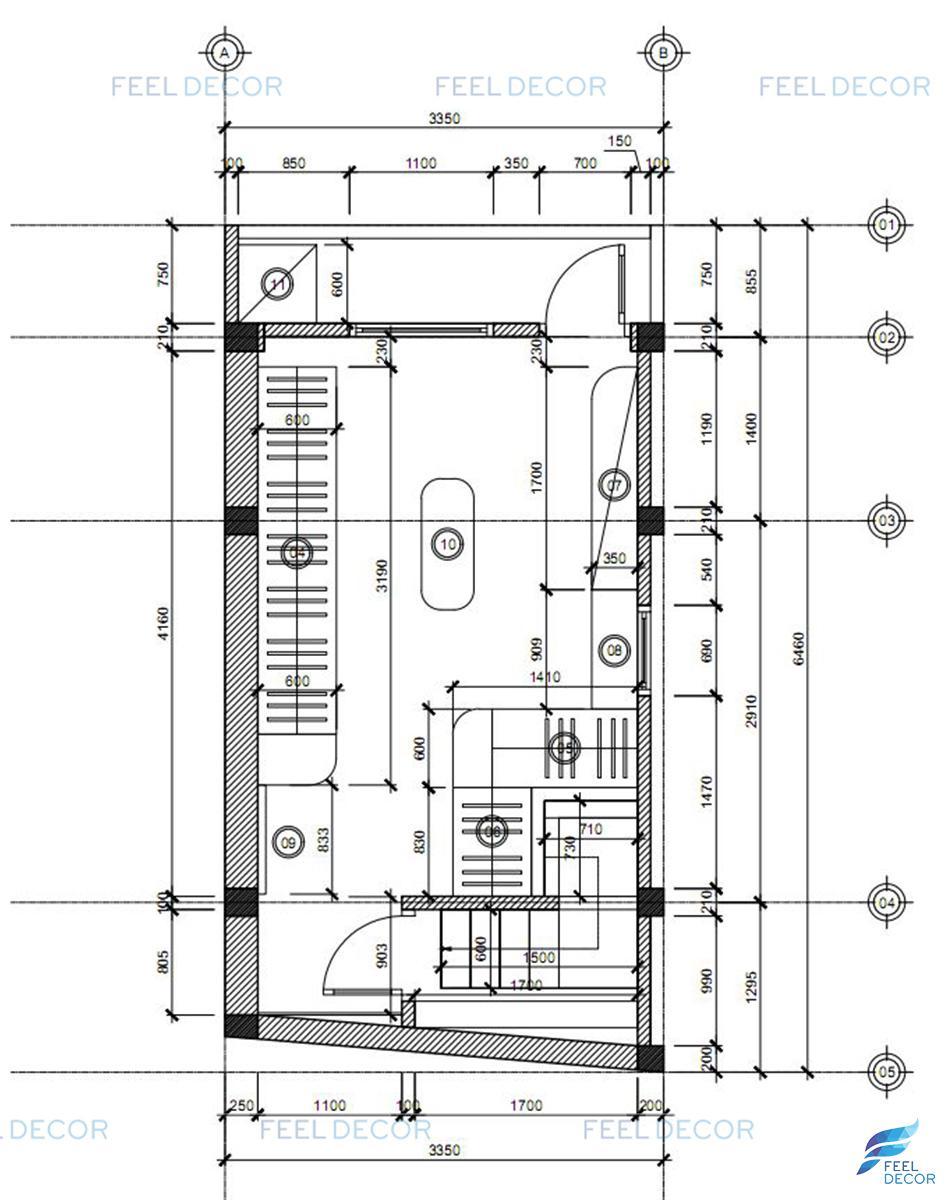 Mặt bằng thiết kế nội thất gác lửng nhà phố Gò Vấp.