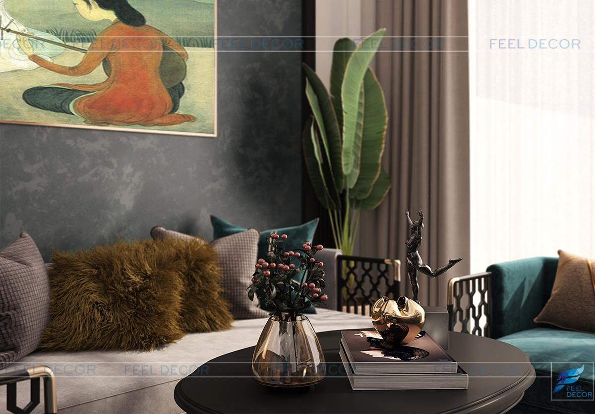 Thiết kế nội thất tầng trệt nhà phố Vinapark Giang Điền