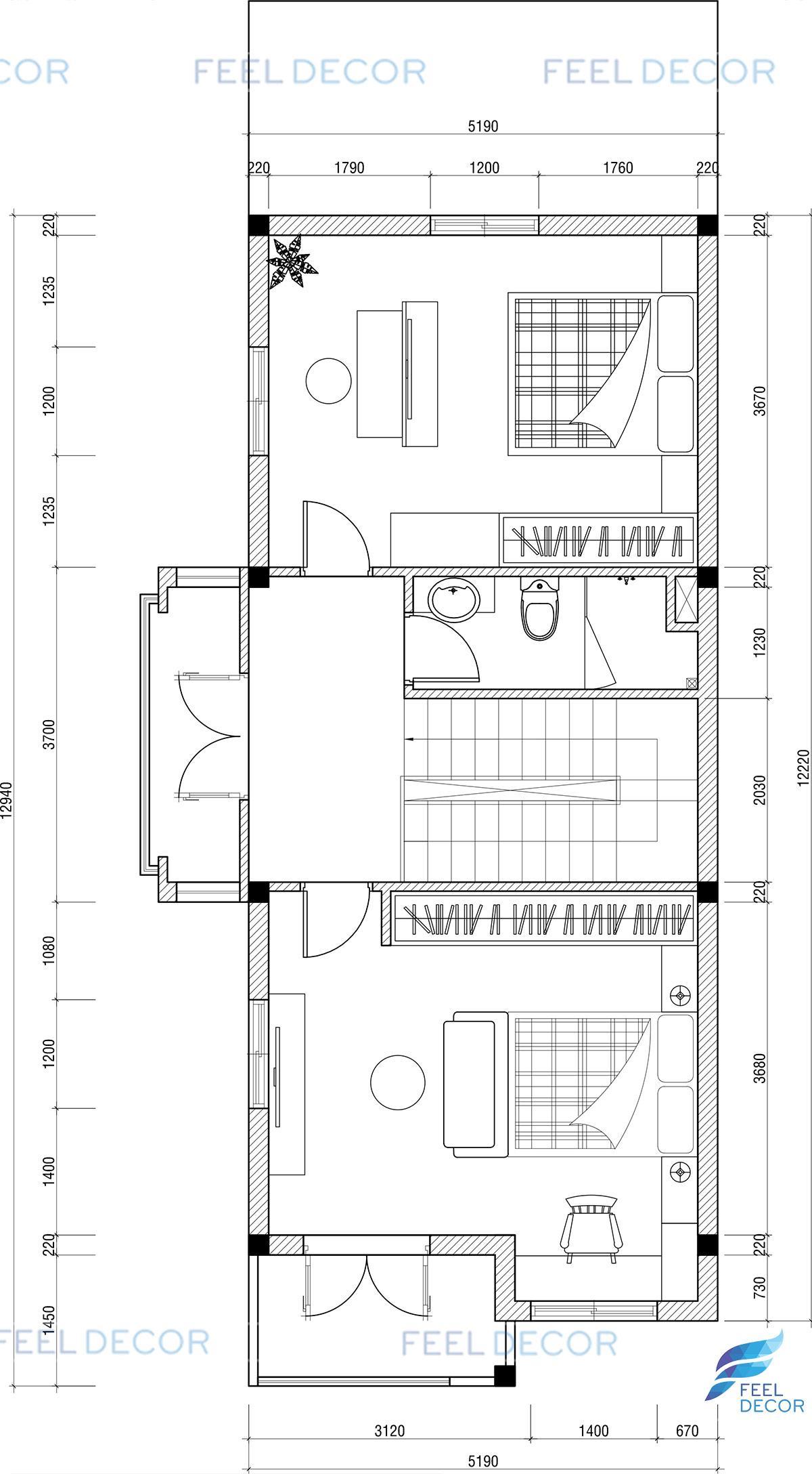 Mặt bằng thiết kế nội thất tầng 1