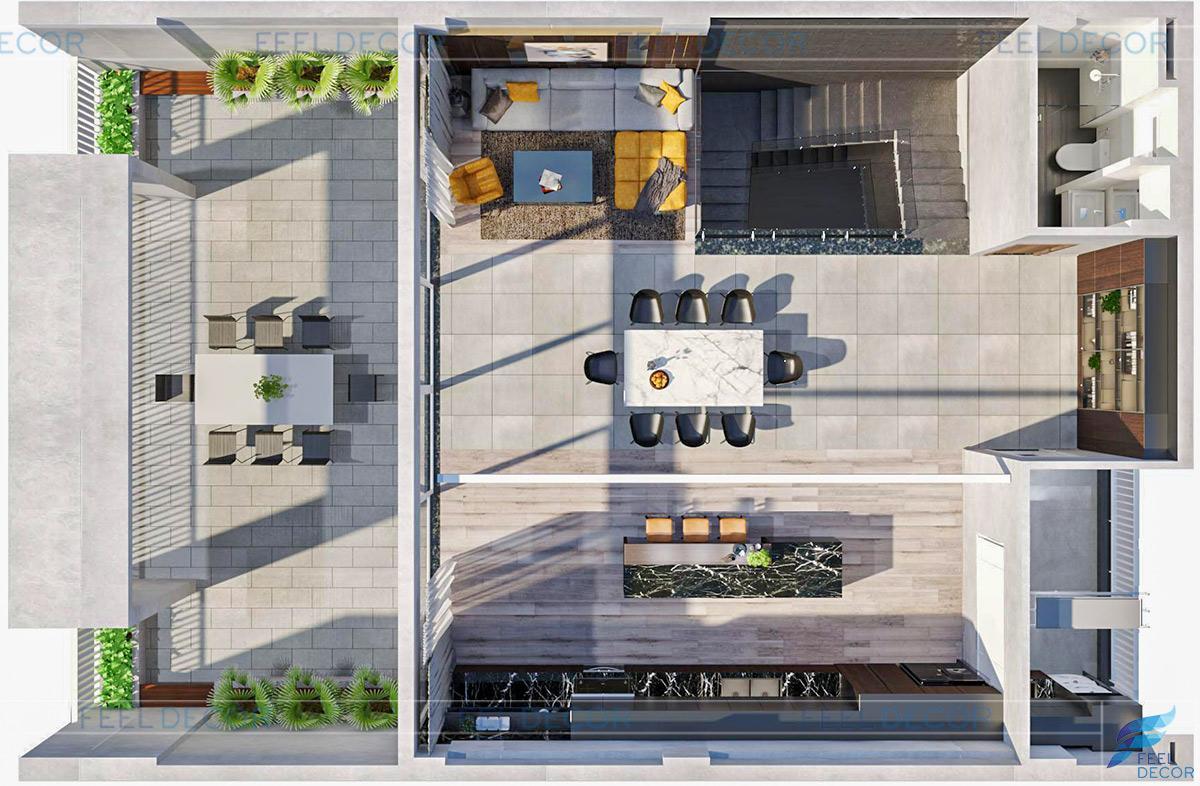 Thiết kế nội thất tầng 5 nhà phố Vạn Phúc Thủ Đức