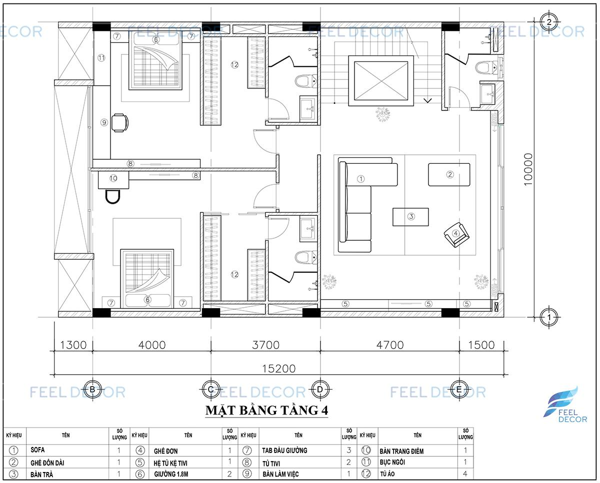 Thiết kế nội thất tầng 4 nhà phố Vạn Phúc Thủ Đức