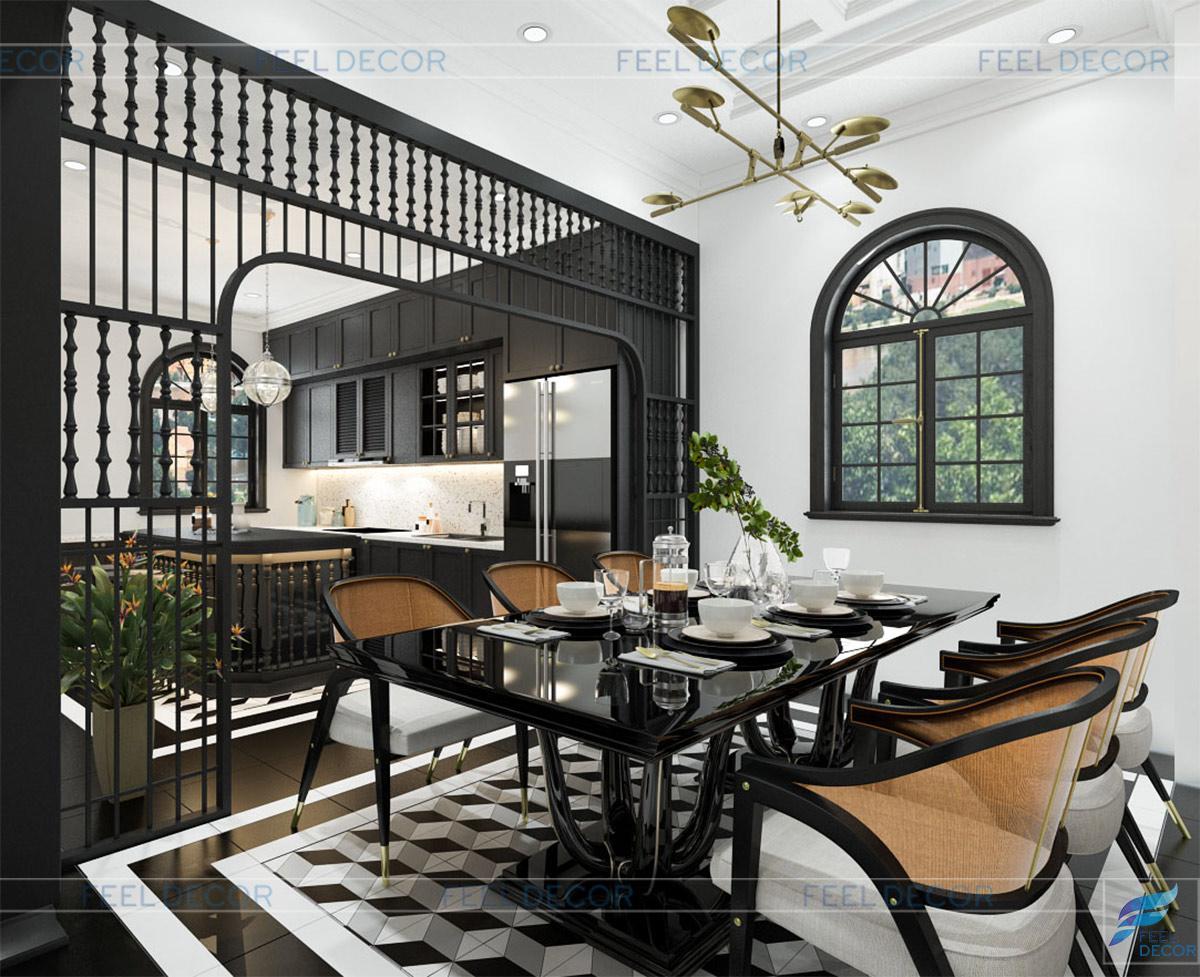 Thiết kế thi công nội thất biệt thự CityLand Gò Vấp phong cách Indochine