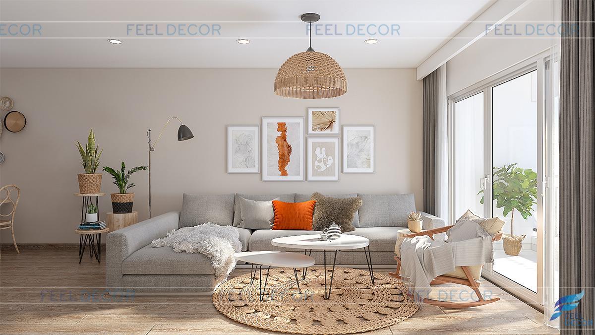 Thiết kế nội thất phòng khách căn hộ 108m2 chung cư One Verandah
