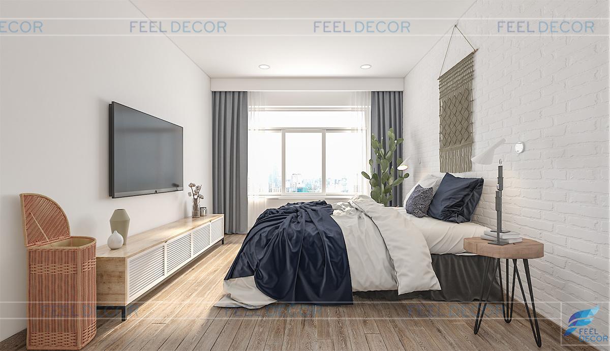 Thiết kế nội thất phòng ngủ cho cậu con trai căn hộ 108m2 3 phòng ngủ chung cư One Verandah