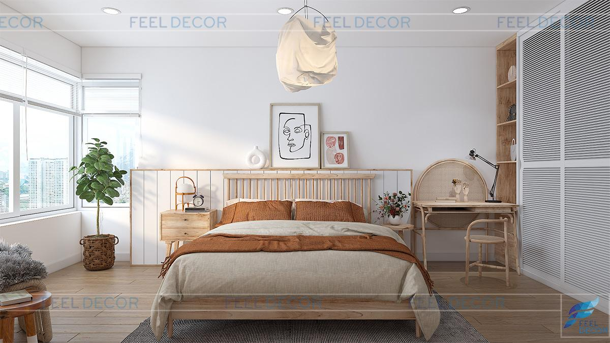 Thiết kế nội thất phòng ngủ Master căn hộ 108m2 3 phòng ngủ chung cư One Verandah
