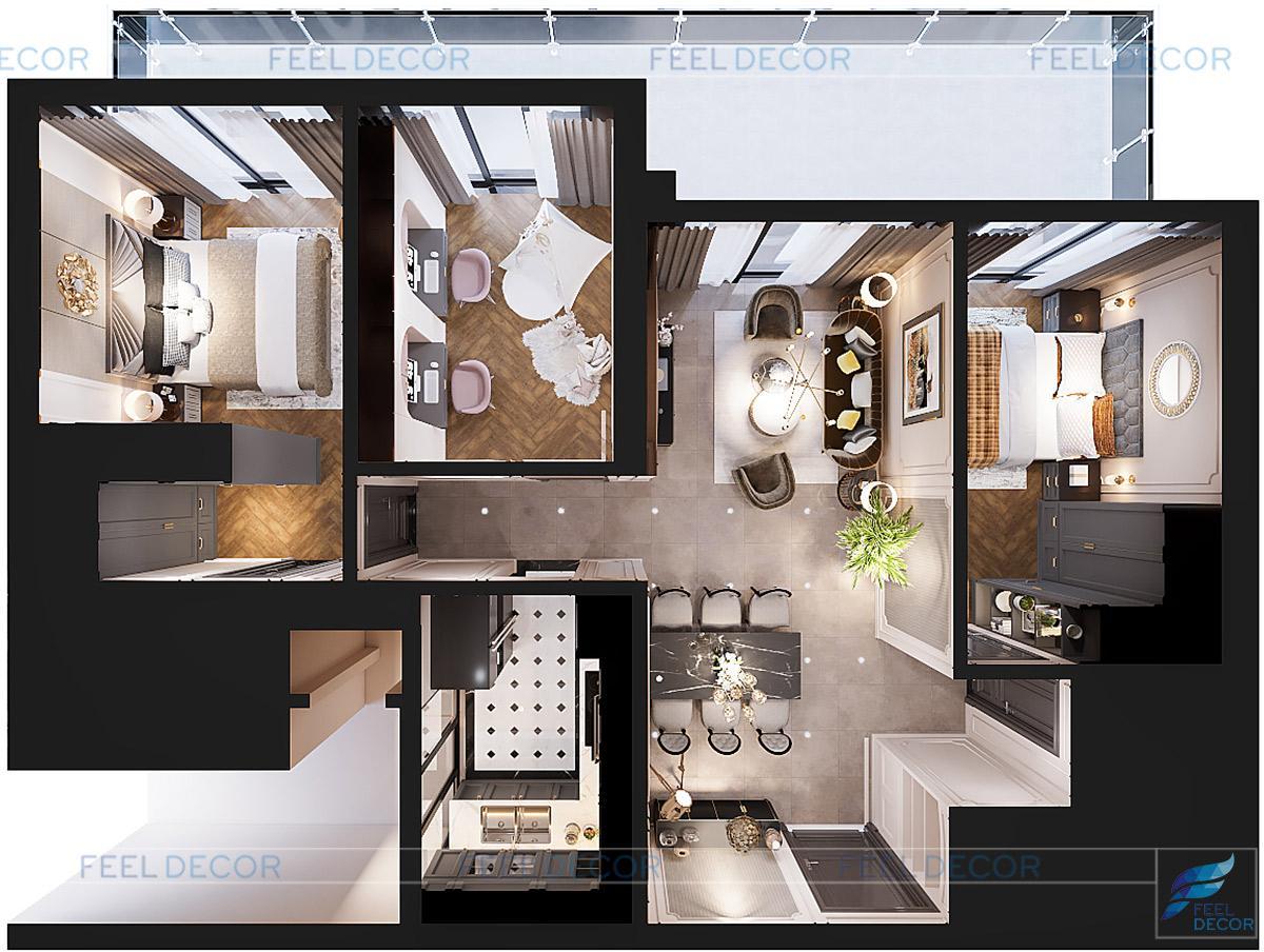 Nội thất căn hộ 130m2 chung cư Feliz en Vista