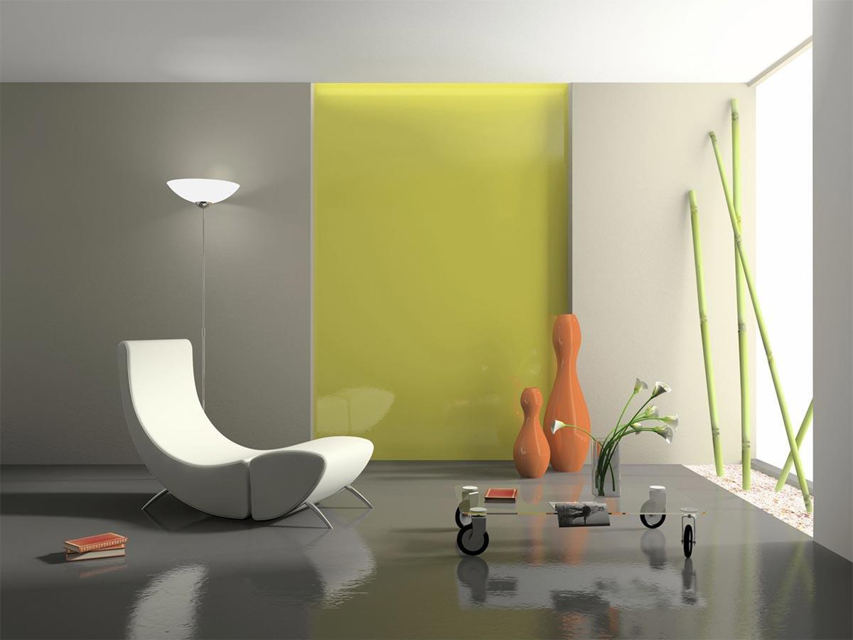 Phòng khách sử dụng vật liêu acrylic