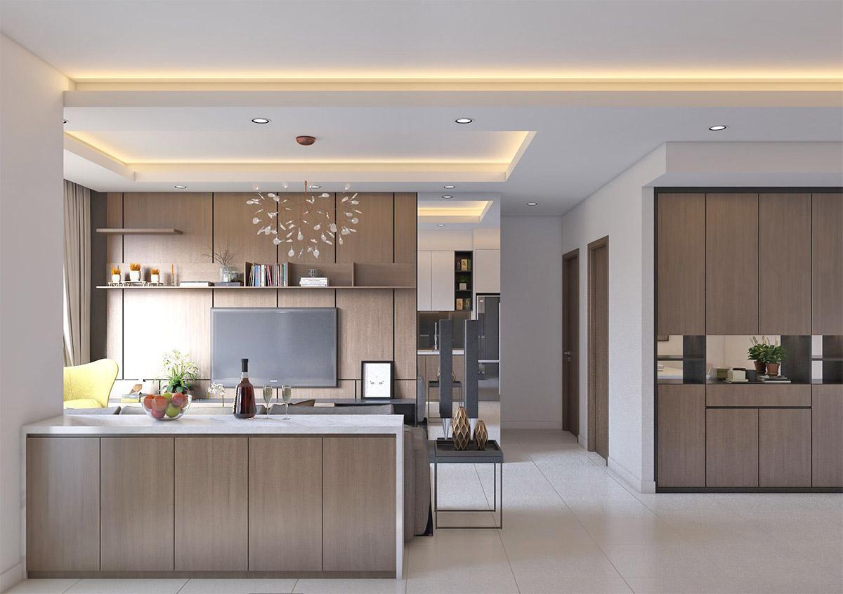 thiết kế bếp nhà phố phong cách hiện đại