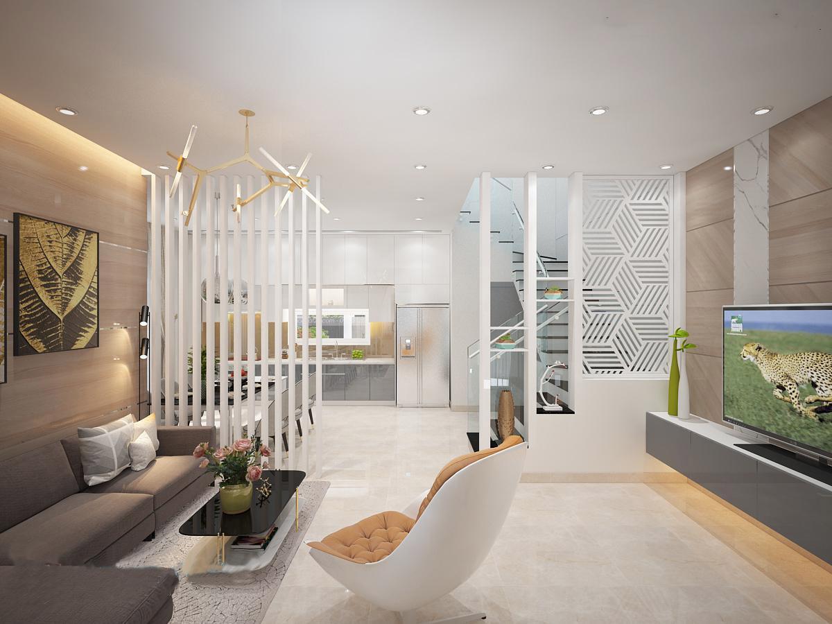 phòng khách nhà phố phong cách hiện đại