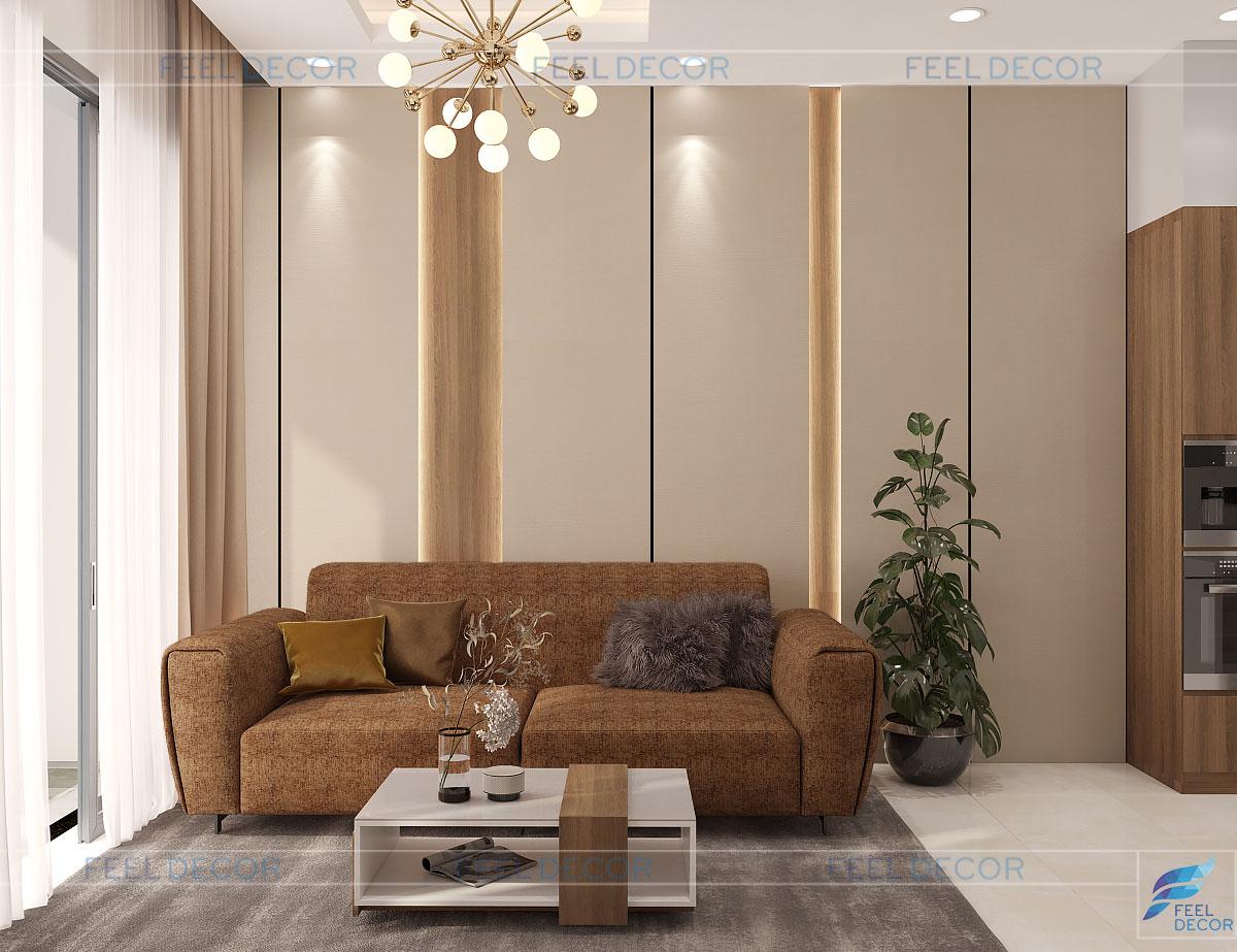 Thiết kế thi công nội thất nhà phố quận 9 phòng khách