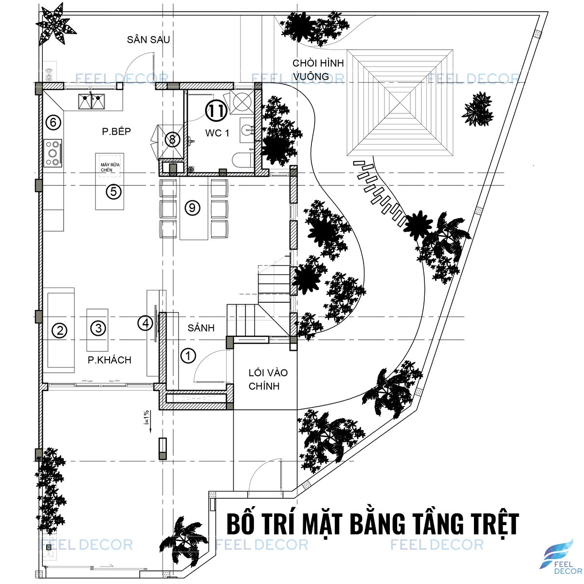 Thiết kế mặt bằng nội thất nhà phố Quận 9 Tầng trệt