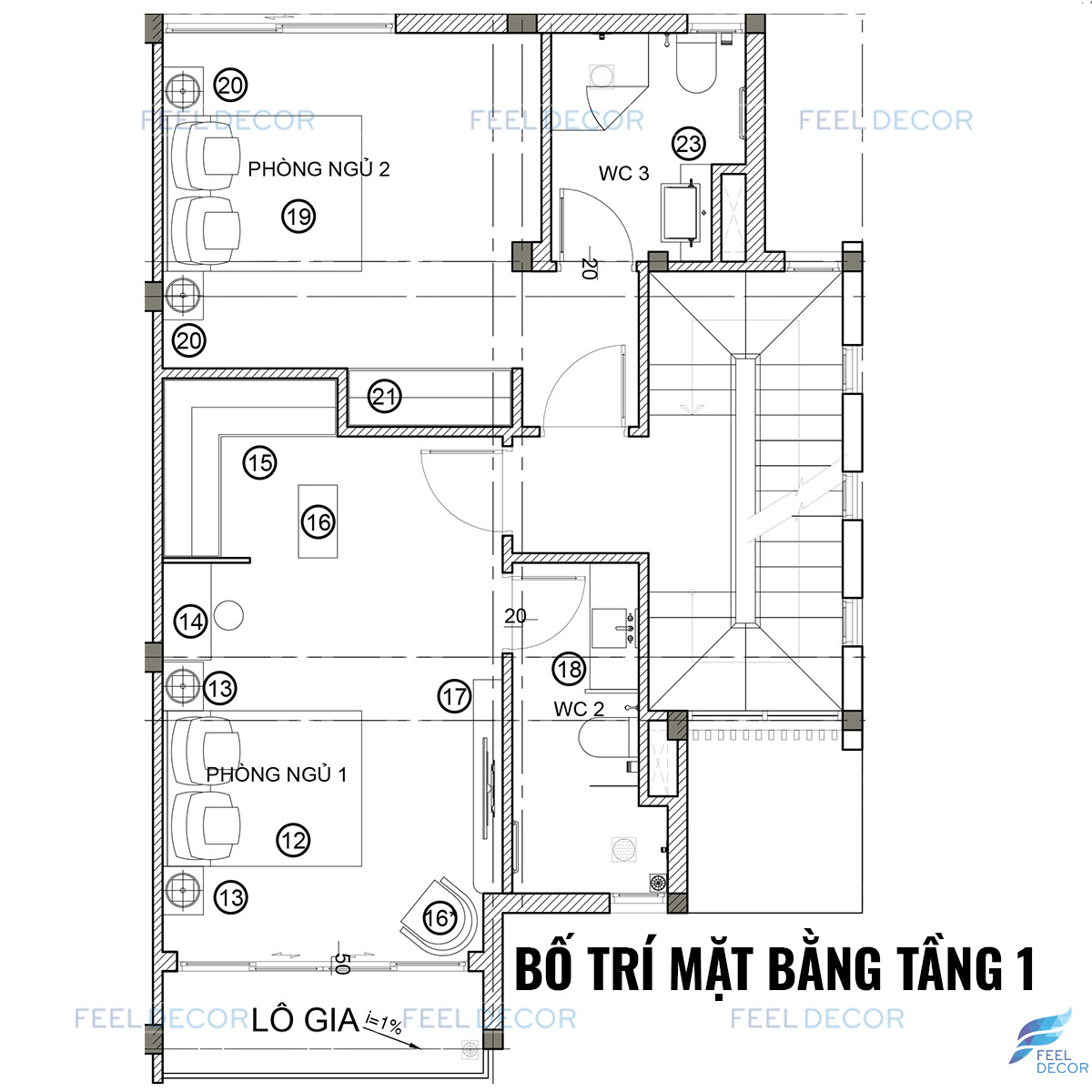 Mặt bằng nội thất nhà phố Quận 9 tầng 1
