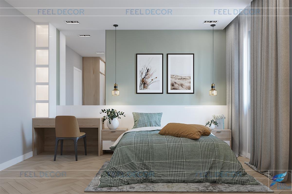 Thiết kế thi công nội thất nhà phố lakeview city chị phụng phòng ngủ phụ