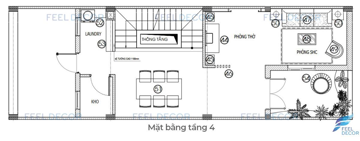 Thiết kế thi công nội thất nhà phố Lakeview chị Phụng tầng 4