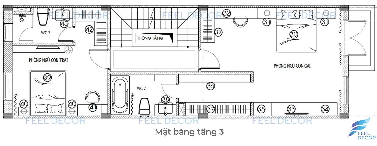Thiết kế thi công nội thất nhà phố Lakeview chị Phụng tầng 3