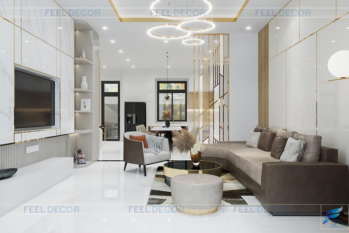 Thiết kế mở phòng khách và bếp