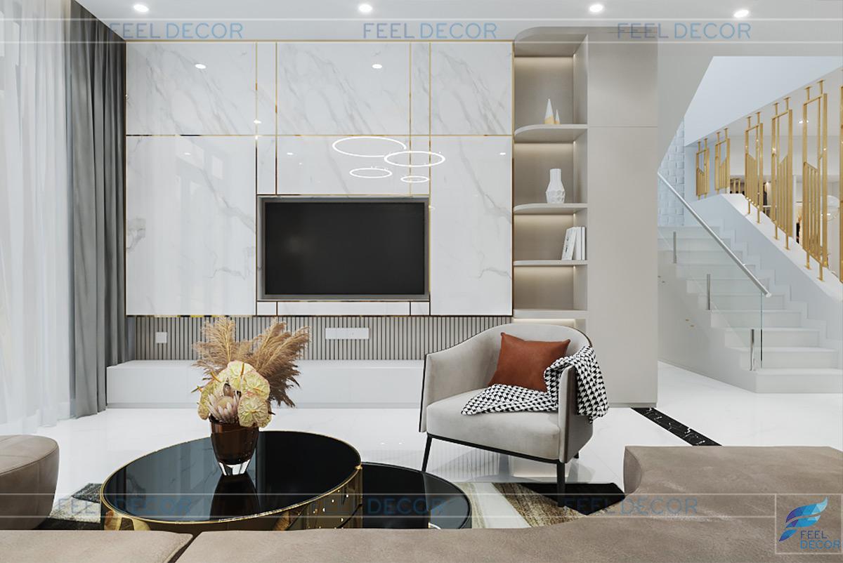 Thiết kế nội thất phòng khách kệ tivi