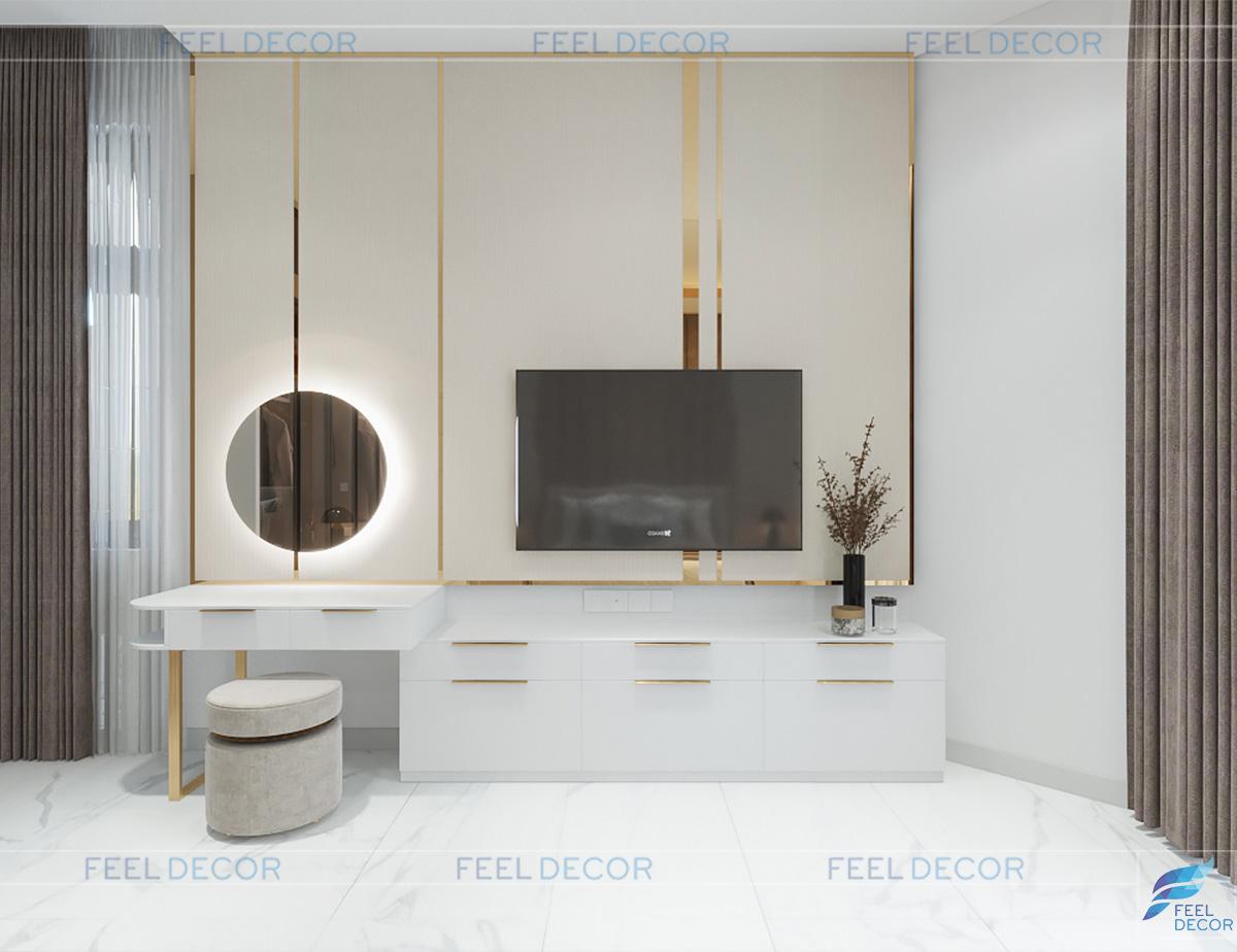 Thiết kế thi công nội thất biệt thư mini Rạch Giá kệ trang điểm phòng ngủ master