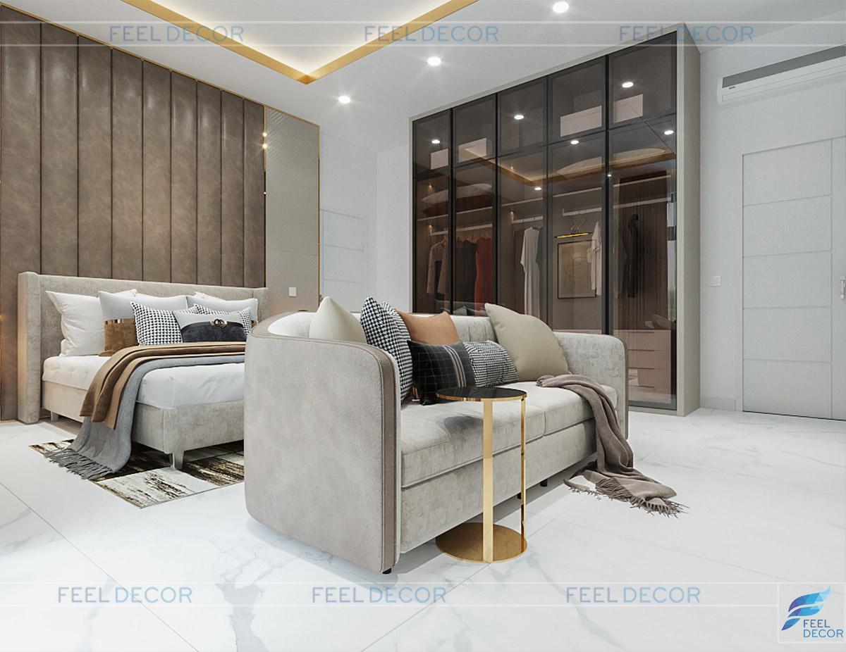 Thiết kế thi công nội thất biệt thư mini Rạch Giá phòng ngủ lầu 1