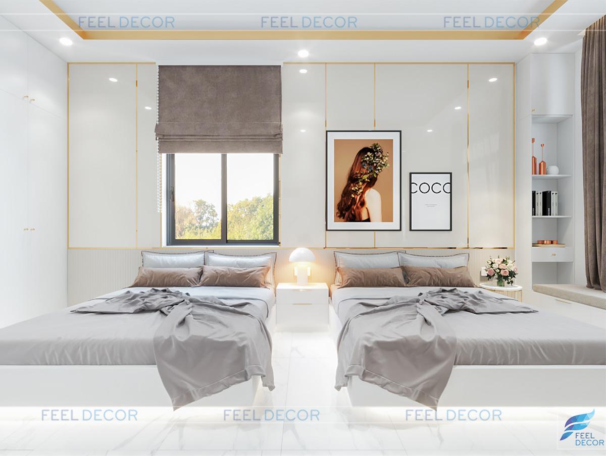 Thiết kế phòng ngủ 2 bé gái