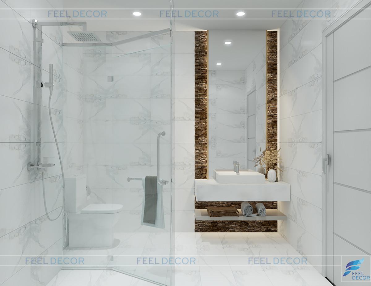 Thiết kế nội thất phòng vệ sinh lầu 1